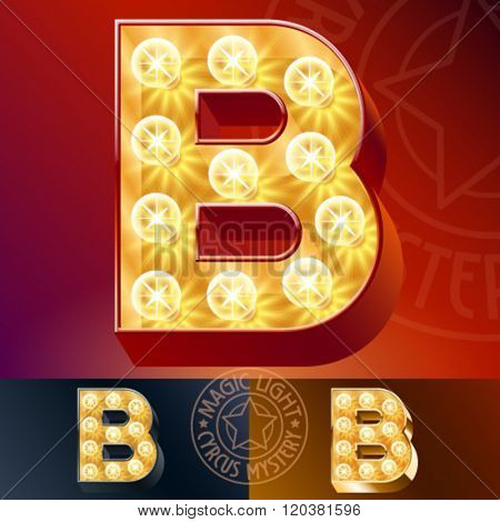 Fantastic vector  light up font with lamp. Letter B