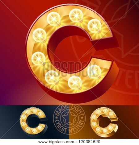Fantastic vector  light up font with lamp. Letter C