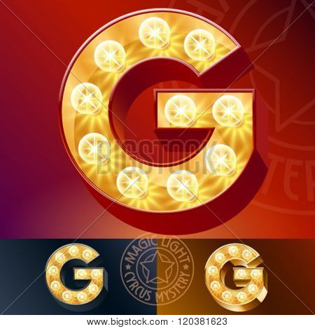Fantastic vector  light up font with lamp. Letter G