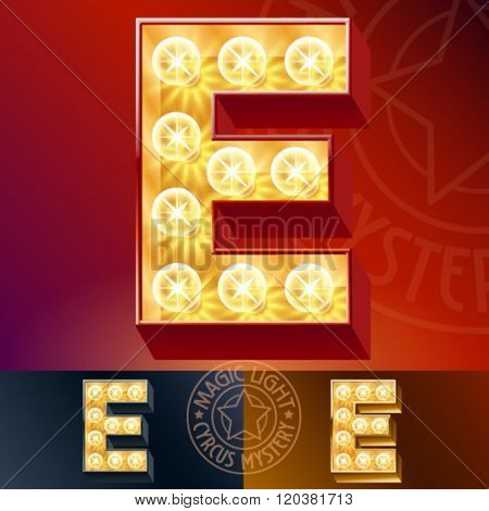 Fantastic vector  light up font with lamp. Letter E