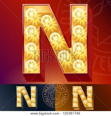 Fantastic vector  light up font with lamp. Letter N