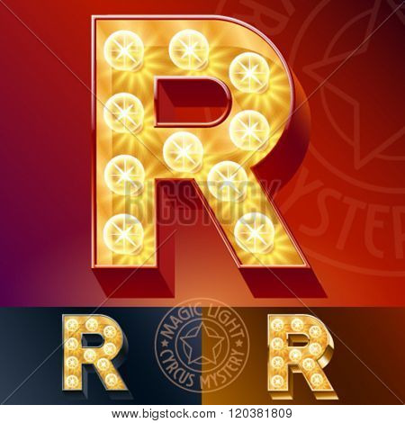 Fantastic vector  light up font with lamp. Letter R