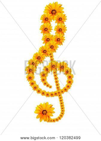 Treble clef from flowers