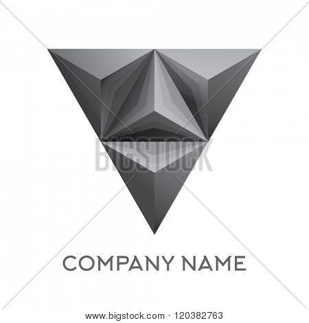 Abstract company logo with 3d triangle figure. vector illustration. Isolated on white background