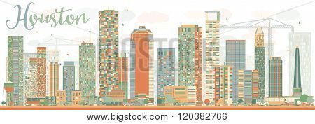 Abstract Houston Skyline with Color Buildings Sky. Vector Illustration. Business Travel and Tourism Concept with Modern Buildings. Image for Presentation Banner Placard and Web Site.