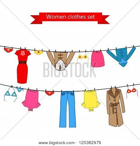 Set of color clothes for the woman on the clothes line.