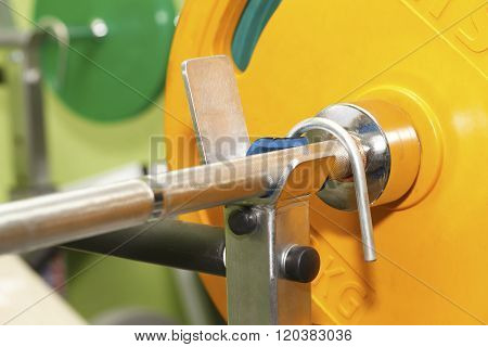 Barbell closeup , health  and sports background