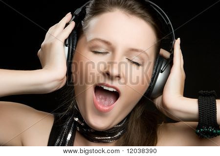Girl Listening to Headphones Music