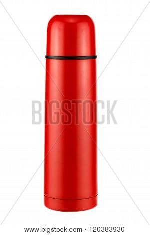 bright red thermos on a white background