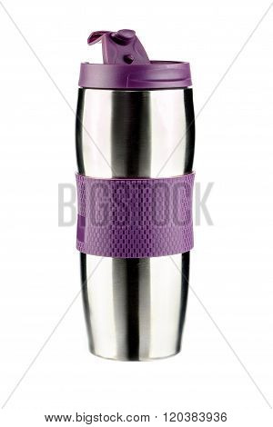 Thermos cup with purple trim on a white background