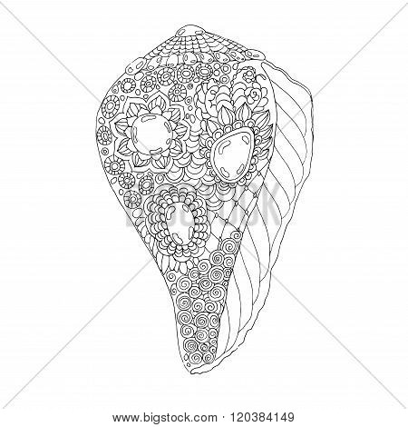 Zentangle Seashell Vector Illustration