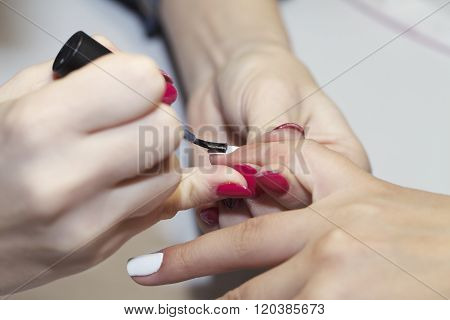 manicure process, nails, close-up,