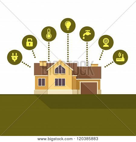 Smart House Technology Infographic. Flat Style. Vector