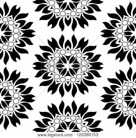 Monochromatic Seamless Floral Pattern