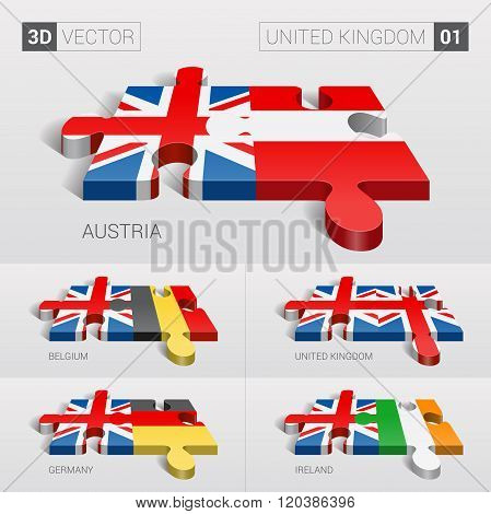 United Kingdom Flag. 3d vector puzzle.