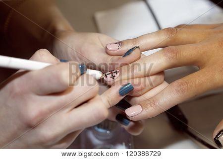 manicure process, gel nail, close-up,