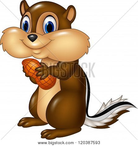 Cartoon chipmunk holding peanut isolated on white background