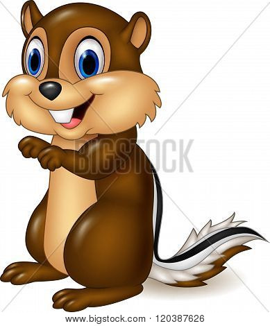 Cartoon chipmunk sitting