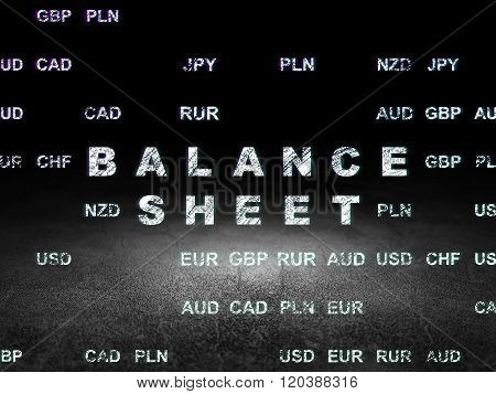 Banking concept: Balance Sheet in grunge dark room