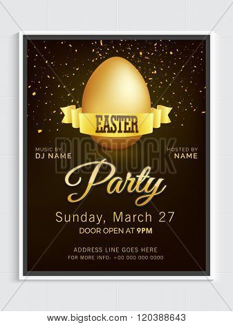 Glossy Golden Egg decorated, Invitation Card design for Easter Party celebration.