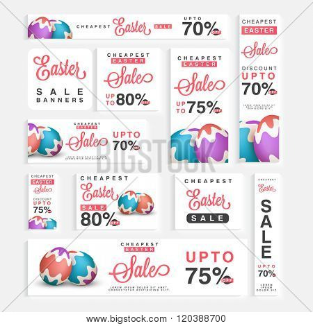 Social Media header or banner set of Sale with discount offer for Happy Easter celebration.