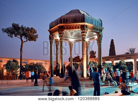 Illuminated Tomb Of Hafez The Iranian Poet In Shiraz At Sunset