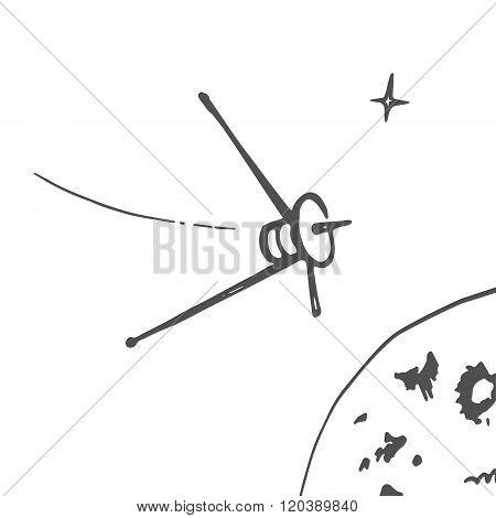 Space Satellite Sketch