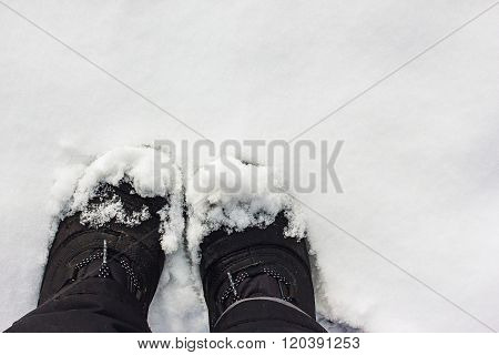 Black Boots in the snow, snow, boots, background