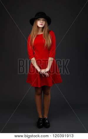 Full-length Portrait Of Beautiful Young Girl