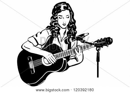 Vector Sketch Of A Girl Playing The Guitar In Front Of A Microphones