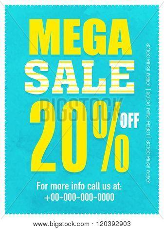 Mega Sale Flyer, Banner or Pamphlet with 20% discount offer.