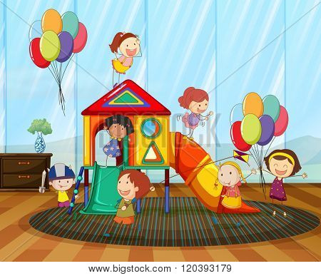 Children playing on the slide in the room illustration