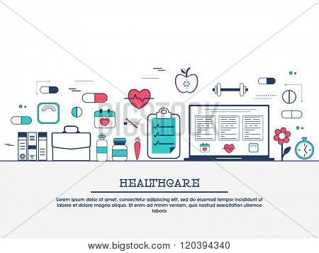 Medical laboratory with scientist doctor, healthcare research and diagnostics web banner, hero image, website slider. Line art vector illustration.