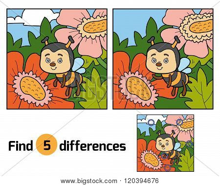 Find Differences, Game For Children (bee And Background)