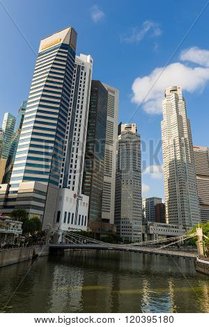 Skyscrapers Along Singapore River.