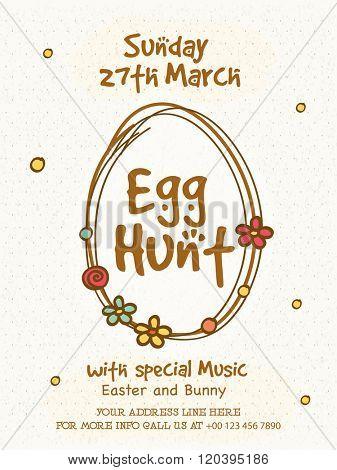 Egg Hunt Pamphlet, Banner or Flyer design for Happy Easter celebration.