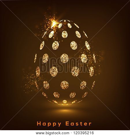 Creative Easter Egg made by golden glittering dots on shiny brown background.