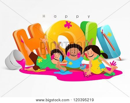 Glossy colourful 3D text Holi with illustration of cute kids enjoying and playing colours on occasion of Indian Colour Festival celebration.