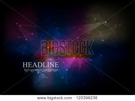 Dark colorful low poly tech background. Vector graphic design