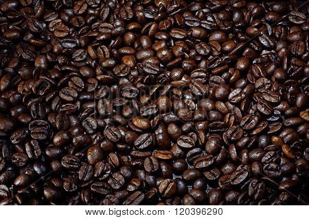 Background Texture Of Coffee Beans, Roasted Dark Brown, Copy Space For Logo Or Text