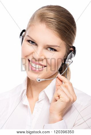 Telemarketing headphones woman in call center wearing hands free