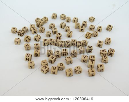 Illustration Of The Word Password From Cubes With Letters