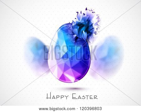 Creative Egg in low poly origami style on shiny grey background for Happy Easter celebration.