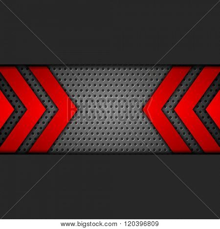 Metal tech perforated background with red arrows. Vector design