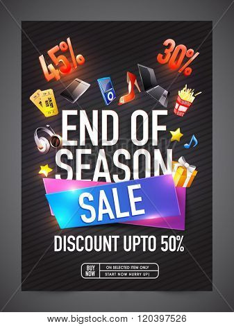 End of Season Sale Banner, Sale Poster, Sale Flyer, Sale Vector. 45%, 30%, 50% Off, Sale Background. Big Sale, Super Sale, Special Offer. Vector illustration.