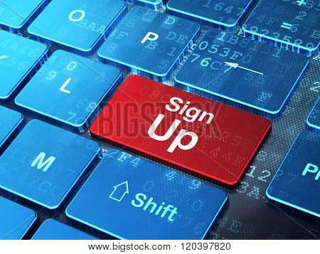 Web design concept: Sign Up on computer keyboard background