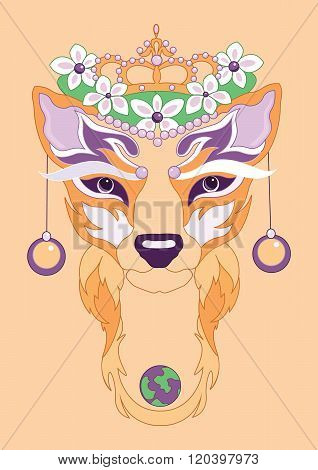 illustration of decorative fox with planet Eath and earrings