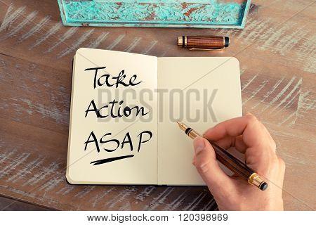 Handwritten Text Take Action Asap
