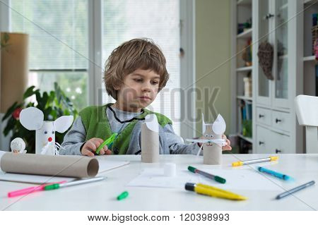 Little Boy Being Creative