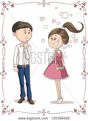 Love At First Sight Vector Cartoon.eps